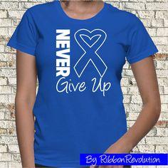Never Give Up Blue Ribbon Shirts For Colon Cancer, Huntington's Disease, Myositis Awareness Shirts