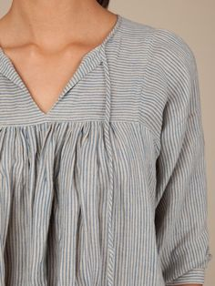 Striped gathered top.