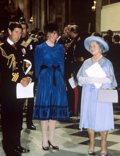 1982 - the Queen Mum with Diana and Charles in St Paul's Cathedral for a Memorial Service - Falkland Islands conflict