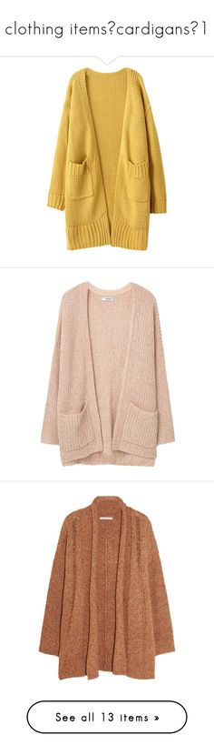 """""""clothing items✦cardigans✦1"""" by xxharrietxx ❤ liked on Polyvore featuring tops, cardigans, outerwear, jackets, open front tops, open front cardigan, pocket cardigan, brown cardigan, long open front cardigan and sweaters"""