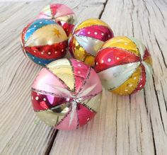 Set of Five Mid Century Hand Painted Ornaments from Poland