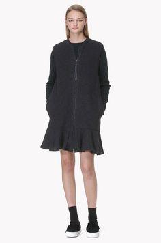 Flounce hem zip front knit dress