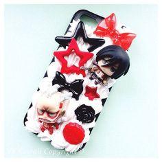 Custom Kawaii Decoden Death Note Light, L, Misa and Ryuk phone case... ❤ liked on Polyvore