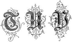 Old English Style Letters - Image 7 Gothic Lettering, Tattoo Lettering Fonts, Lettering Styles, Typography Logo, Lettering Design, Alphabet Art, Letter Art, Gothic Alphabet, Monogram Fonts