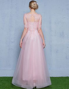 Formal Evening Dress A-line Scoop Floor-length Tulle with Appliques 5082783 2016 – ₩130,628