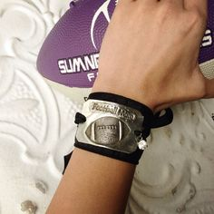 Hand stamped Football mom silk wrap bracelet by kolejaxdesigns