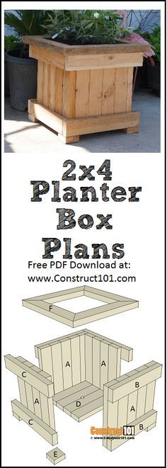 Easy To Build 2x4 Planter Box Free Plans At Construct101 In 2020 Planter Box Plans Planter Box Diy Easy Planter Boxes
