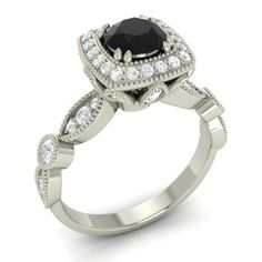Round Black Diamond  and Diamond  Halo Ring in 14k White Gold