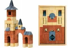 For more than 120 years, Anchor Stone Blocks have mimicked real stone in weight, texture, and color: red brick, tan limestone, and blue slate (they were a lifelong favorite of Walter Gropius); $95.95 at Fat Brain Toys
