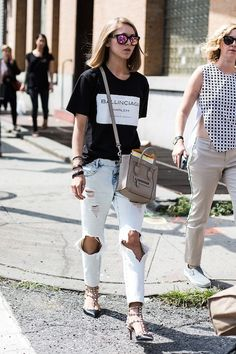 graphic tee, taupe mini Celine bag, ripped jeans & studded Valentino kitten heels #style #fashion #aloveisblind #streetstyle