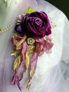 Brooch Corsage, Flower Corsage, Fabric Flower Brooch, Fabric Flowers, Tulle Flowers, Shabby Flowers, Faux Flowers, Vintage Flowers, Material Flowers