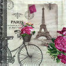 4 x Vintage Table PAPER NAPKINS / CRAFT / PARIS NU  / FOR DECOUPAGE /TEA PARTY