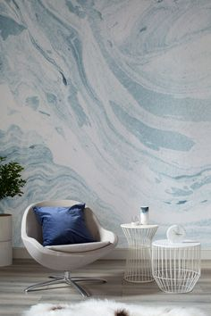 On the lookout for calming wall murals? Fall in love with the swirling colours of blue and white in this refreshingly beautiful marble wallpaper. Pair with calming neutrals and a pop of blue to complete the look. Blue Marble Wallpaper, Textured Wallpaper, Marble Wallpapers, Building Kitchen Cabinets, Ideas Hogar, Minimalist Bedroom, New Blue, Home Interior, New Room