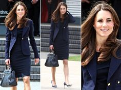 Duchess of Cambridge Kate Middleton Navy Sheath Dress & Blazer Suit
