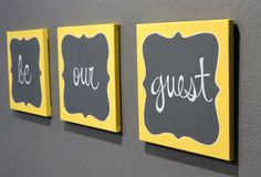 Be Our Guest Canvas Painting Set Guest Room Wall by GoldenPaisley