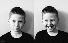 diptych of boy in black and white pics by Sarah Lalone of Punch Photographic