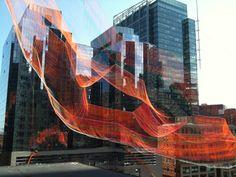 Gallery of Janet Echelman Suspends Massive Aerial Sculpture Over Boston's Greenway - 4 -- http://www.archdaily.com/627124/janet-echelman-suspends-massive-aerial-sculpture-over-boston-s-greenway