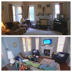Before and After - the living room