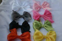 Handmade satin hair bow you pick bow satin by RockabillyBabyPlace, $1.99