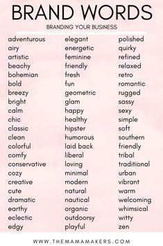 Branding Your Business With A Mood Board Brand words to use when creating a Mood Board for your business! Branding Your Business With A Mood Board Brand words to use when creating a Mood Board for your business! Personal Branding, Branding Your Business, Business Tips, Small Business Marketing, Naming Your Business, Event Planning Business, Personal Logo, Etsy Business, Starting A Business