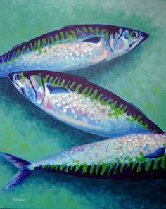 Three Mackerel Canvas Print / Canvas Art by John Nolan