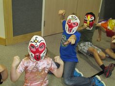 My 3rd grade students made these paper mache Chinese opera masks for the mask parade; lesson by art teacher: Susan Joe