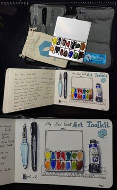 My new Pocket Art Toolkit I love this palette filled with watercolors Daniel Smith. I eagerly await the return of the beautiful days.