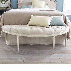 Wisteria - Furniture - Shop by Category - Benches & Ottomans -  Tufted Linen French Bench - $449.00; entry way bench