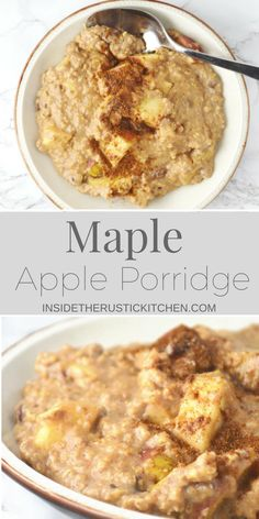 This Maple Apple Porridge recipe is so comforting and delicious you will love waking up to a big bowl of this on these chilly mornings. www.insidetherustickitchen.com