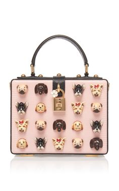 Dolce & Gabbana | Appliquéd Leather Box Tote | Pink | CAD 4,790 | Playfully appliquéd with acrylic dog motifs, Dolce & Gabbana's box tote has been expertly crafted in Italy. This compact design is made from embossed-leather and features a polished lock fastening at the front. Slip your cards, cash and coins in the internal slit pocket. | modaoperandi.com