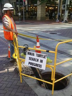 Road Worker With a Sense of Humor