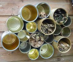 Old Tins used for insect hotel House Bugs, Bee House, Preschool Garden, Sensory Garden, Outdoor Fun For Kids, Diy For Kids, Bug Hotel, Mason Bees, Garden Whimsy