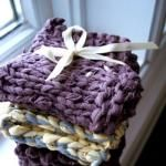 """Tshirt yarn dishclothes-there is a tutorial here that tells you how to """"make"""" the yarn."""