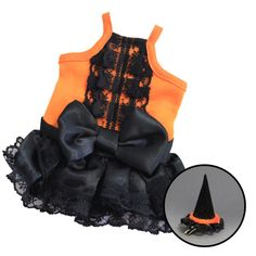 Halloween Costume for Guinea Pigs(Witch Dress+Hat)[M Size]
