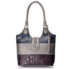07 - Madi Claire Croco & Python Embossed Color Block Shopper Tote Bag
