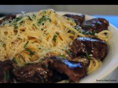 Spaghetti Alho e Oleo com contra-filé