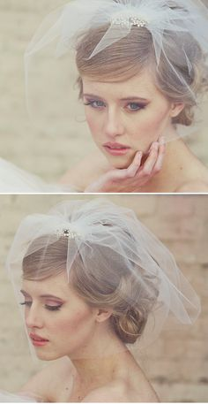 Coiffure mariage : Headwear from Be Something New image by the Coco Gallery – wasn't thinking of a veil but this is making me change my mind! Veil Hairstyles, Wedding Hairstyles With Veil, Wedding Veils, Wedding Dress, Bridal Veils, Wedding Wear, 2017 Image, Short Veil, Hair Arrange
