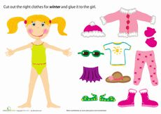 This paper doll needs help dressing for the winter season! Can your child pick out the right outfit for her? Get to know the weather and the seasons with this fun paper project. Seasons Worksheets, Seasons Activities, Christmas Activities, Preschool Worksheets, Clothes Worksheet, Preschool Weather, Paper Dolls Printable, Christmas Paper, Kids Learning