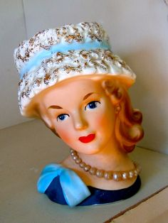 Vintage Bust Girl Head Vase by thewhitebarn11 on Etsy, $75.00