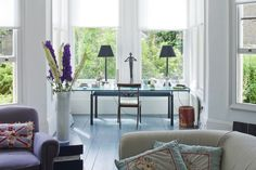 Living room with floor in Farrow & Ball's Down Pipe