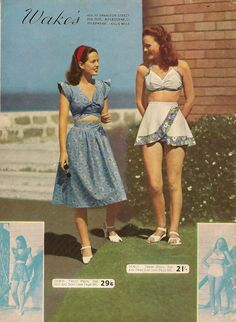 Retro Fashion Wakes of Melbourne Summer catalog. the way I would want to do a crop top. Fashion 60s, Fashion History, Vintage Fashion, Fashion Outfits, 1950s Summer Fashion, Vintage Outfits, Vintage Dresses, Vintage Shorts, 1950s Style