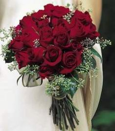 red rose bridal bouquet <3