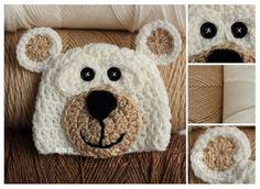 Newborn Infant Youth Teen Adult Sized Crochet Bear Hat