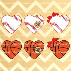 Baseball Love SVG, Basketball Love SVG, Monogram frame Svg, Heart cutting file, Heart frame svg, Bow Svg, png, Vinyl, EPS,…