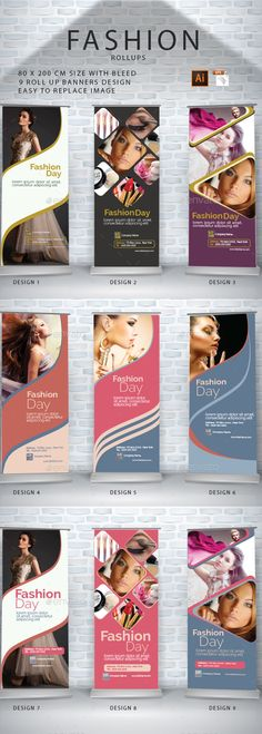 9 Roll-Up Banners Design by iyadsm 9 Roll-Up Banners DesignFeatures : Adobe Illustrator (AI EPS ) CS4, CS5, CS6, CC size: 80x200 cm Easy To Replace The ImageCMYK 3