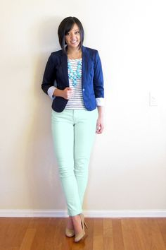 Mint jeans, blue striped top or light chambray top, navy blazer. Or white jeans.