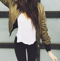 Fall & winter outfit - White top, black jeans & green bomber jacket