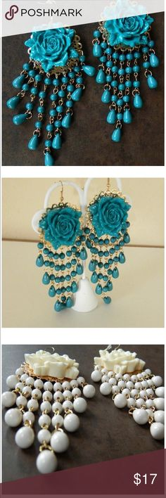"Dark Teal Acrylic Rose Chandelier Earrings Color:  dark Teal;  dimensions: 5-1/2"" long;  gold hardware;  Acrylic beads Jewelry Earrings"
