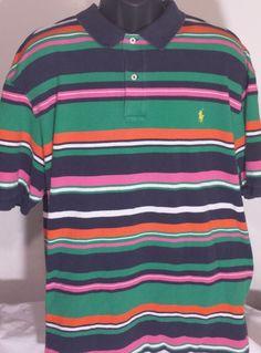 Ralph Lauren Polo Mens Size 3XB Big & Tall Striped Polo Shirt #RalphLauren #PoloRugby
