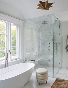 This light-filled ensuite exudes a sense of serenity with a spacious stand-alone tub glass shower and airy color palette Photographer Alex Lukey Designer Erin Feasby Cindy Bleeks Feasby Bleeks Design Bathroom Renos, Bathroom Layout, Bathroom Interior Design, Bathroom Renovations, Bathroom Ideas, Bathroom Organization, Bathroom Storage, Bathroom Cabinets, Bathroom Mirrors